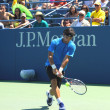 Stock Photo: Professional tennis player Fabio Fognini from Italy practices for US Open 2013
