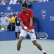 Professional tennis player Novak Djokovic during  fourth round match at US Open 2013 — Stock fotografie