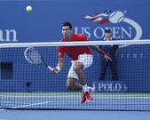 Professional tennis player Novak Djokovic during fourth round match at US Open 2013 — Stock Photo