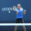 Professional tennis player Alexandr Dolgopolov from Ukraine practices for US Open 2013 — Stock Photo #34700265