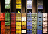 Variety of coffee capsules in Nespresso store in Paris — Stock Photo