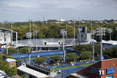 Aerial view of ground courts at Billie Jean King National Tennis Center during US Open 2013 — Stock Photo