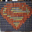 """Heroes fight hunger"" food sculpture presented at  Canstruction competition in New York — Stock Photo"