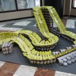 """Riding out hunger"" food sculpture presented at  Canstruction competition in New York — Stock Photo"