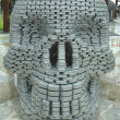 """We can kill hunger"" food sculpture presented at  Canstruction competition  in New York — Stock Photo"