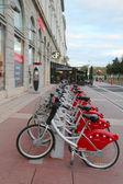 Velo'v bicycle sharing station in Lyon — Stock Photo
