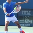 Seventeen times Grand Slam champion Roger Federer during his first round match at US Open 2013 — Stok fotoğraf