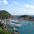 Stock Photo: Aerial view at GustaviHarbor with megyachts at St. Barts, French West Indies