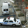 Numerous NYPD cars providing security in World Trade Center area of Manhattan — Stock Photo