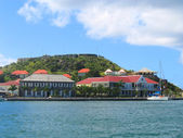 Fort Oscar , Hotel de Ville and Wall House in Gustavia, St. Barts — Stock Photo