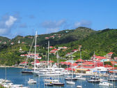 Gustavia Harbor with mega yachts at St. Barts, French West Indies — Stock Photo
