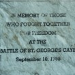 Battle of St. George's Caye memorial sign in Belize — Stock Photo