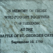 Battle of St. George's Caye memorial sign in Belize — Foto de Stock