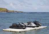 Jet ski at Grand Cul de Sac Bay at St. Barts — Stock Photo