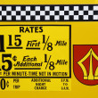 ストック写真: 1980's New York City taxi rates decal.