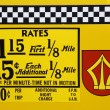 Stock Photo: 1980's New York City taxi rates decal.