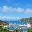 Aerial view at Gustavia Harbor with mega yachts at St Barts, French West Indies — Stock Photo #35773893