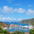 Aerial view at Gustavia Harbor with mega yachts at St Barts, French West Indies — Foto Stock