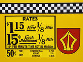 1980's New York City taxi rates decal. — Zdjęcie stockowe