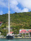Mega yacht in Gustavia Harbor at St Barts, Frech West Indies — Stock Photo