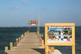 Wooden dock at the waterfront in San Pedro, Belize — Stock Photo