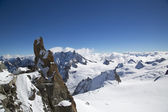 Peak and observation point Rebuffat at the mountain top station of the Aiguille du Midi in French Alps — Stock Photo