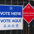 Signs at the voting site in New York — Stock Photo