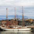 Tall ship in the harbor in Oslo — Zdjęcie stockowe