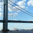 Stock Photo: Queen Mary 2 cruise ship in New York Harbor under Verrazano Bridge