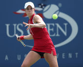 Professional tennis player Alize Cornet during third round singles match at US Open 2013 — Stock Photo
