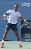 Twelve times Grand Slam champion Rafael Nadal during third round singles match at US Open 2013 — Stock Photo