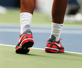 Twelve times Grand Slam champion Rafael Nadal wears custom Nike tennis shoes during practice for US Open 2013 — Stock Photo