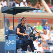 Stock Photo: Chair umpire during first round match between Venus Williams and Kirsten Flipkens at US Open 2013