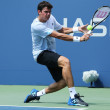 Professional tennis player  Milos Raonic during first round singles match at US Open 2013 — Photo