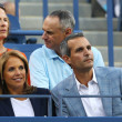 Foto Stock: TV anchor Katie Couric during evening match at US Open 2013