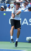 Professional tennis player Milos Raonic during first round singles match at US Open 2013 — Stock Photo