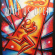 US Open 2001 poster on display at the Billie Jean King National Tennis Center — Stok fotoğraf