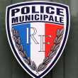 Municipal police sign in Lyon, France — Stock Photo