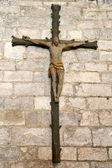 Cross inside of the Basilica of St-Saveur in Rocamadour, France — Stock Photo