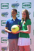 Four-time Olympic gold medalist Missy Franklin co-host with TV personality Quddus at Arthur Ashe Kids Day 2013 at Billie Jean King National Tennis Center — Stock Photo