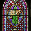 Stock Photo: Stained glass window of Basilicof St-Saveur in Rocamadour, France