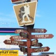 Stock Photo: Anchorage, Alaskair crossroads of world signpost