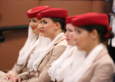 Emirates Airline flight attendants at the Billie Jean King National Tennis Center during US Open 2013 — Stock Photo