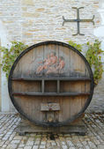 An old painted wine barrel in Chateau de Pommard in Burgundy, France — Stock Photo