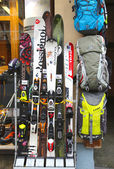 Skiing gear in alpine store in Chamonix, France — Stock Photo
