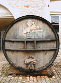 An old painted wine barrel in Chateau de Pommard, France — Stock Photo