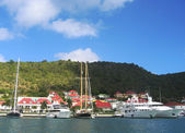 Gustavia Harbor with mega yachts at St Barts, French West Indies — Stock Photo