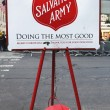 Stock Photo: Salvation Army red kettle for collections in midtown Manhattan