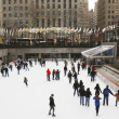 Lower Plaza of Rockefeller Center with ice-skating rink and Christmas tree in Midtown Manhattan — Stock Photo #37734423