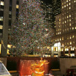 Lower Plaza of Rockefeller Center with ice-skating rink and Christmas tree in Midtown Manhattan — Stock Photo #37734855